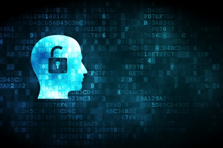 Data management: Business concept: pixelated Head With Padlock icon on digital background, empty copyspace for card, text, advertising, 3d render