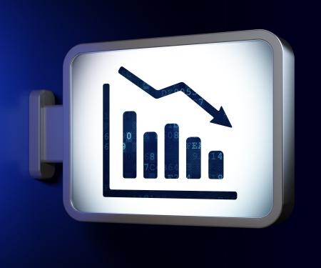 Business concept: Decline Graph on advertising billboard background, 3d render