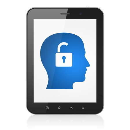 Finance concept: black tablet pc computer with Head With Padlock icon on display. Modern portable touch pad on White background, 3d render photo