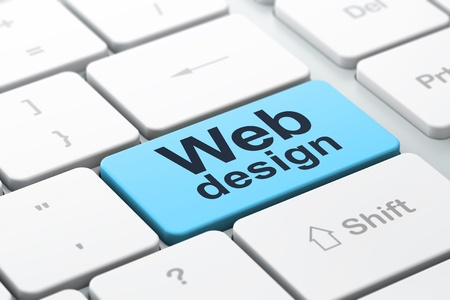 SEO web development concept: computer keyboard with word Web Design, selected focus on enter button background, 3d render photo