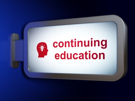 continuing education: Education concept: Continuing Education and Head With Light Bulb on advertising billboard background, 3d render