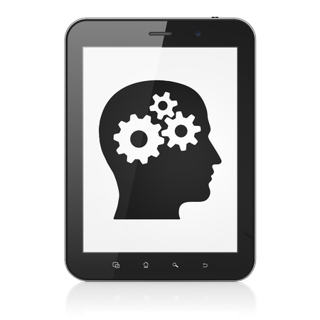 Advertising concept: black tablet pc computer with Head With Gears icon on display. Modern portable touch pad on White background, 3d render photo