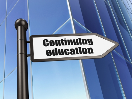 Education concept: Continuing Education on Building background, 3d render photo