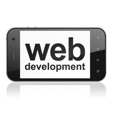 Web design concept: smartphone with text Web Development on display. Mobile smart phone on White background, cell phone 3d render photo