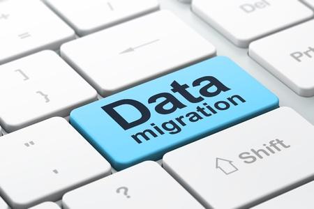 Datos concepto: Teclado de ordenador con la palabra de migración de datos, seleccionados se centran en introducir fondo de botón, 3d Foto de archivo - 21781797