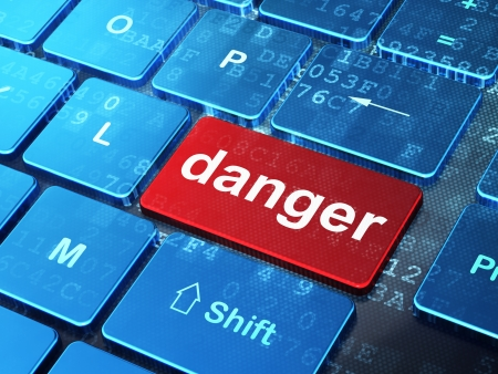 Safety concept: computer keyboard with word Danger on enter button background, 3d render photo
