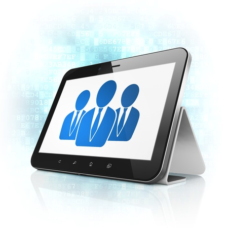 News concept: black tablet pc computer with Business People icon on display. Modern portable touch pad on Blue Digital background, 3d render photo