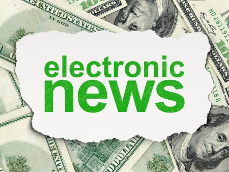 News concept: torn paper with words Electronic News on Money background, 3d render photo