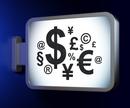 Finance concept: Finance Symbol on advertising billboard background, 3d render photo