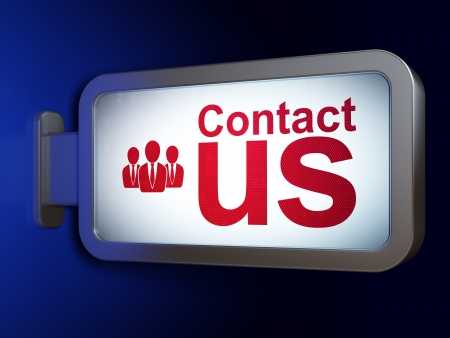 Marketing concept: Contact Us and Business People on advertising billboard background, 3d render photo