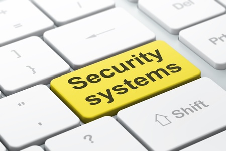 Safety concept: computer keyboard with word Security Systems, selected focus on enter button background, 3d render Stock Photo - 21781979