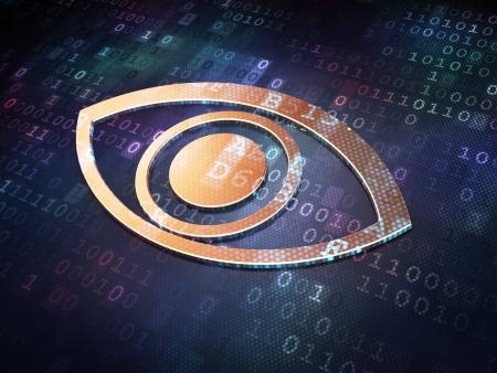 Protection concept: Golden Eye on digital background, 3d render Stock Photo - 21854969