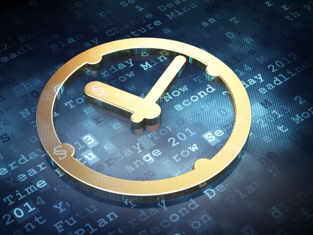 Time concept: Golden Clock on digital background, 3d render photo