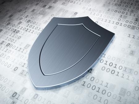 Bescherming concept: Silver Shield op digitale achtergrond, 3d render