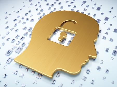 Finance concept: Golden Head With Padlock on digital background, 3d render photo