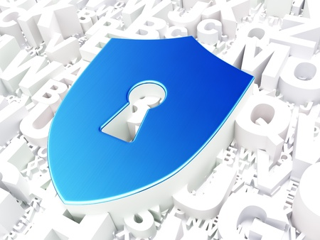 Security concept: Shield With Keyhole on alphabet background, 3d render photo