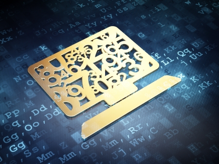 Education concept: Golden Computer Pc on digital background, 3d render photo