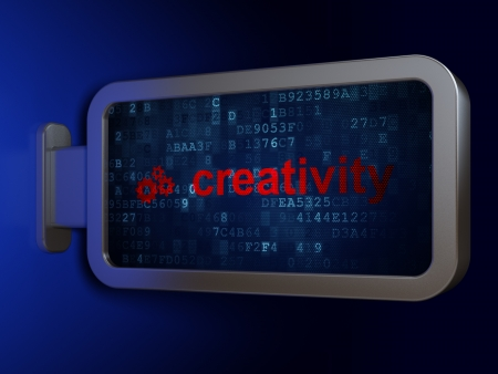 Marketing concept: Creativity and Gears on advertising billboard background, 3d render photo