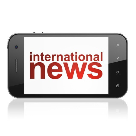 News concept: smartphone with text International News on display. Mobile smart phone on White background, cell phone 3d render photo