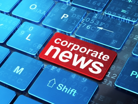 News concept: computer keyboard with word Corporate News on enter button background, 3d render photo
