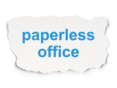 paperless: Business concept: torn paper with words Paperless Office on Paper background, 3d render