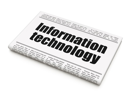 Information news concept: newspaper headline Information Technology on White background, 3d render photo