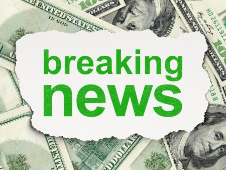 News concept: torn paper with words Breaking News on Money background, 3d render photo