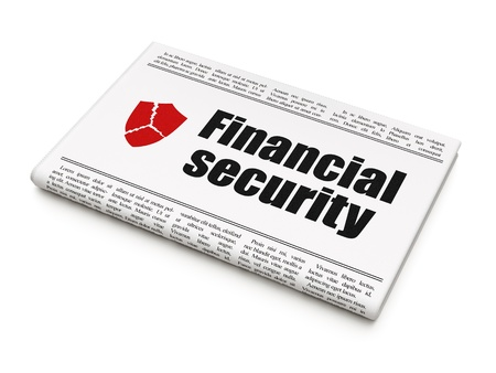 sheild: Protection news concept: newspaper headline Financial Security and Broken Shield icon on White background, 3d render