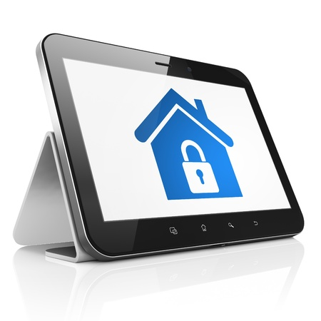 Safety concept: black tablet pc computer with Home icon on display. Modern portable touch pad on White background, 3d render photo