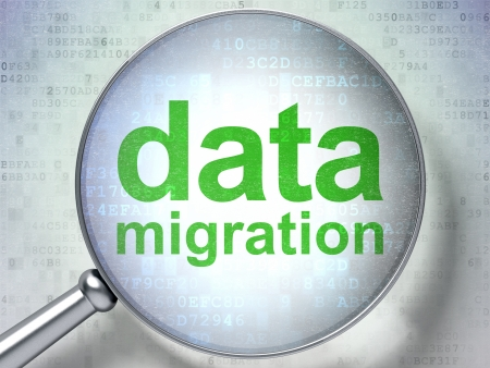 migration: Data concept: magnifying optical glass with words Data Migration on digital background, 3d render