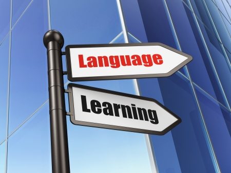 Education concept: Language Learning on Building background, 3d render