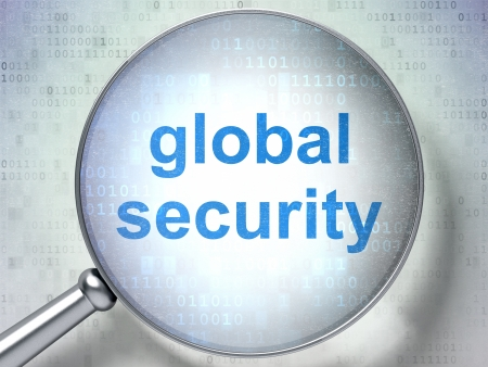 Security concept: magnifying optical glass with words Global Security on digital background, 3d render photo