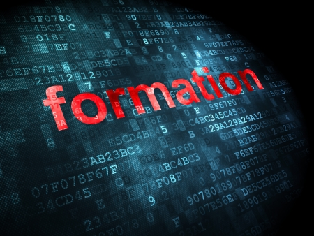 Education concept: pixelated words Formation on digital background, 3d render photo