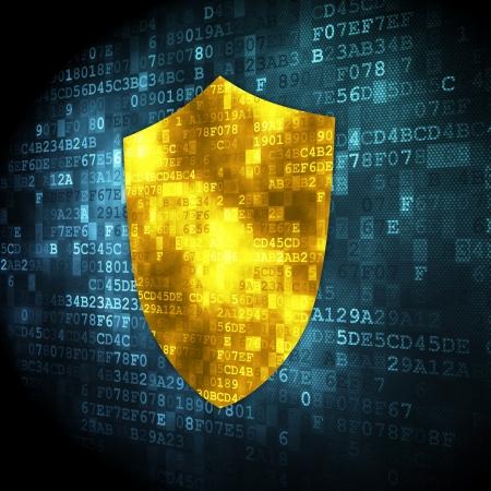 Privacy concept: korrelig Shield pictogram op digitale achtergrond, 3d render Stockfoto