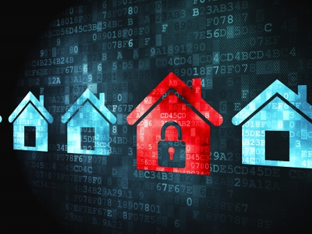 Privacy concept: pixelated Home icon on digital background, 3d render photo