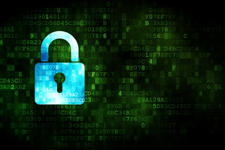 network security: Data concept: pixelated Closed Padlock icon on digital background, empty copyspace for card, text, advertising, 3d render