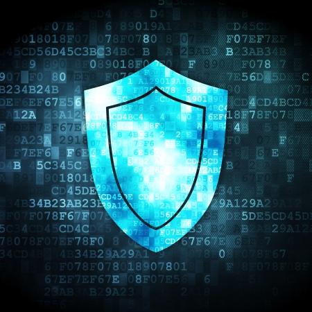 Beveiliging concept: korrelig Shield pictogram op de digitale achtergrond, 3D render Stockfoto