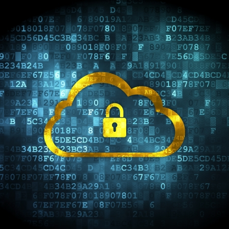 Cloud computing concept: pixelated Cloud With Padlock icon on digital background, 3d render photo