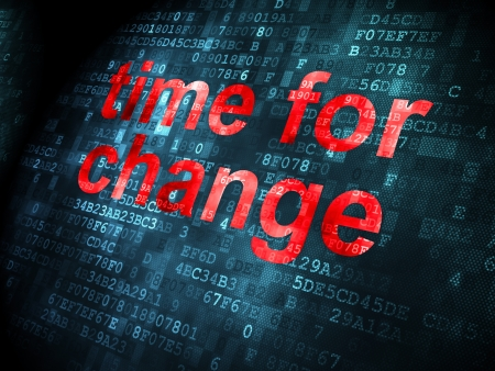 Time concept: pixelated words Time for Change on digital background, 3d render photo