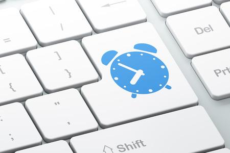 cronologia: Concepto de línea de tiempo: Entre en el botón con el despertador en el fondo del teclado del ordenador, 3d