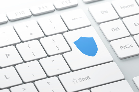 sheild: Privacy concept: enter button with Shield on computer keyboard background, 3d render, selected focus