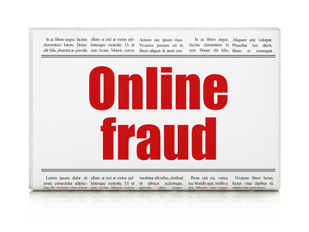 Safety news concept: newspaper headline Online Fraud on White background, 3d render photo