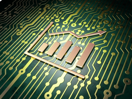 News concept: circuit board with Growth Graph icon, 3d render photo