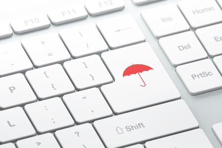 crack up: Protection concept: enter button with Umbrella on computer keyboard background, 3d render, selected focus