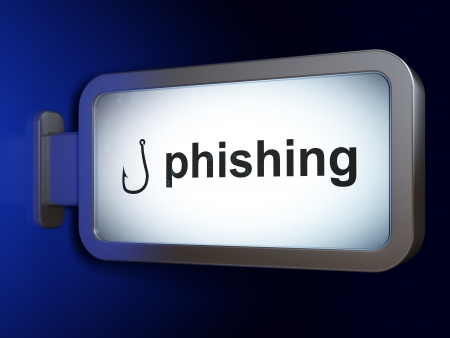 phishing: Safety concept: Phishing and Fishing Hook on advertising billboard background, 3d render Stock Photo