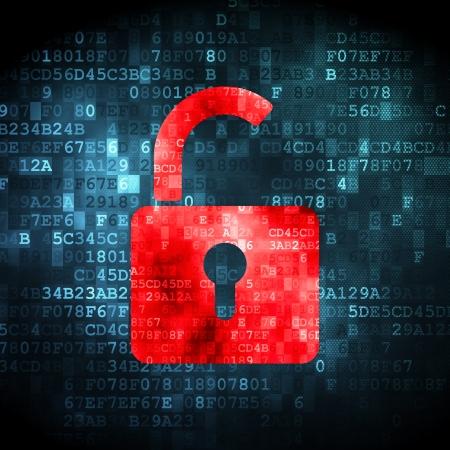 Sicherheitskonzept: pixelig Eröffnet Vorhängeschloss-Symbol auf digitale Hintergrund, 3d render