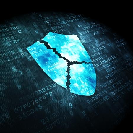 Privacy concept: korrelig Broken Shield pictogram op digitale achtergrond, 3d render