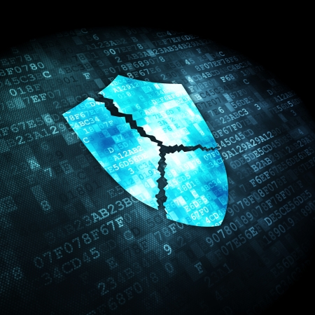 Privacy concept: pixelated Broken Shield icon on digital background, 3d render photo