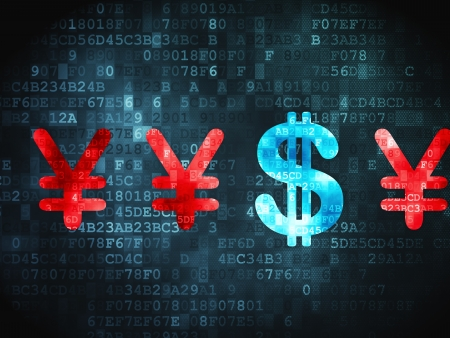 Currency concept: pixelated Dollar And Yen icon on digital background, 3d render photo