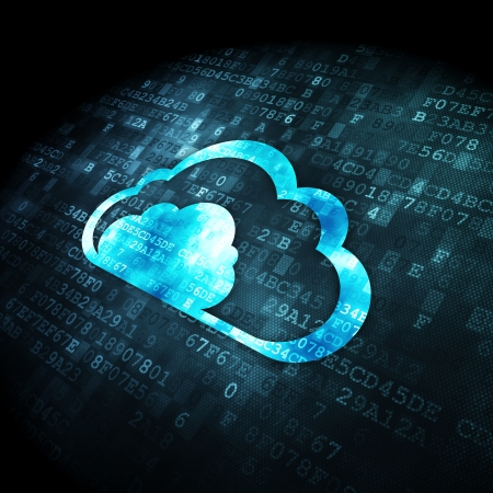 Cloud technology concept: pixelated Cloud icon on digital background, 3d render Stock Photo - 22321188